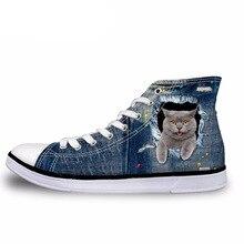 NOISYDESIGNS Men's High Top Vulcanize Shoes Cute 3D Animal Cat Denim Printed Cla