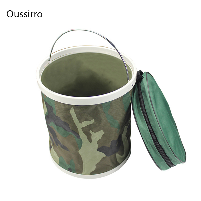 11L multifunctional portable folding bucket fishing bucket camouflage outdoor water buck ...