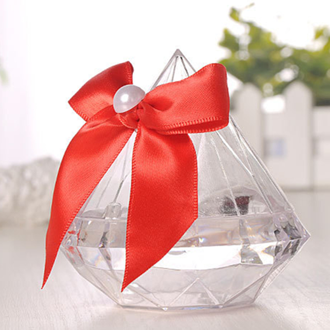 1pc Wedding Decoration Jewelry Ring Box with Bowknot Clear Diamond Shape Candy Flower Boxes for Birthday Party Anniversary