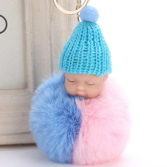 Fluffy Rabbit Fur Pompom Bebê Dormindo Boneca Chaveiro Das Mulheres Saco de Pele de Coelho Pompom Trinket Chaveiro Carro de Natal Ano Novo presente