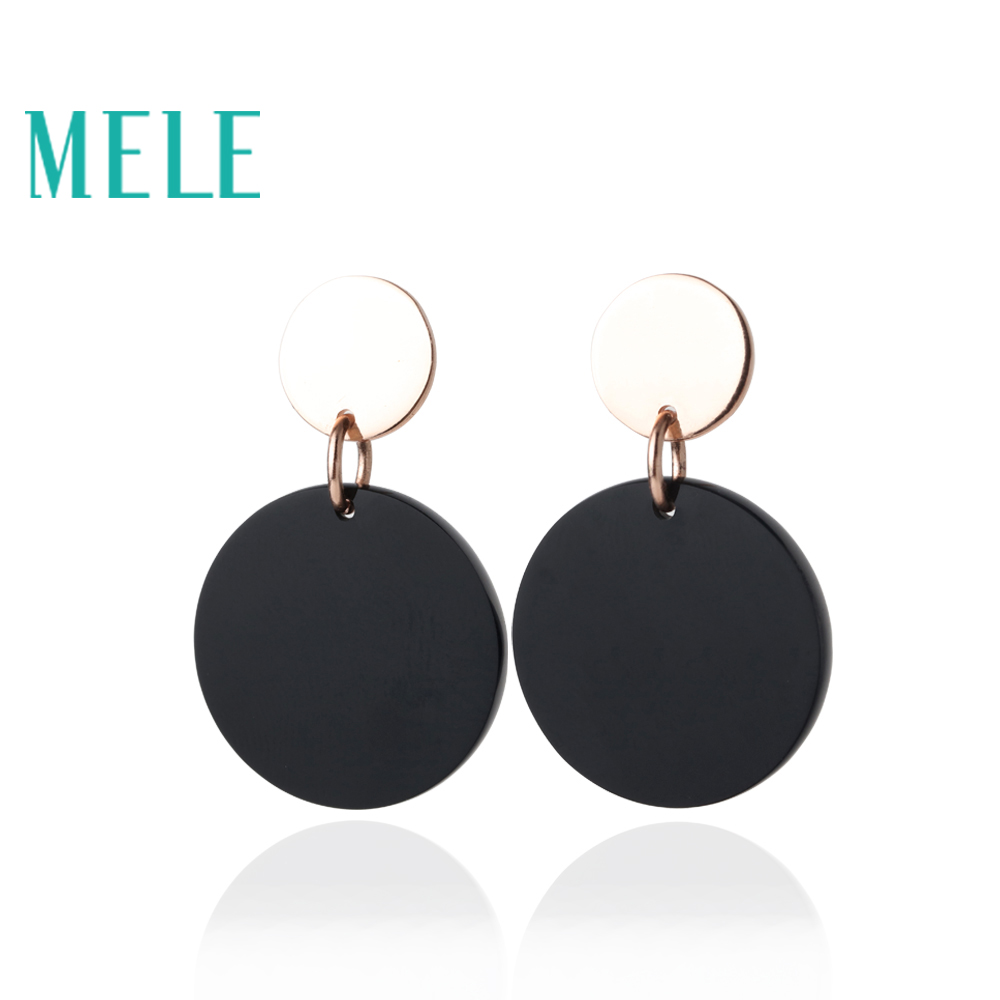 MELE Black Agate Stones Stud Earring for women and girl trendy fashion and simple style with round chape wzatco 5500lumen android smart wifi 1080p full hd led lcd 3d video dvbt tv projector portable multimedia home cinema beamer