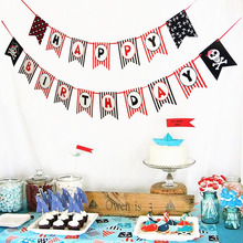 Pirate Theme Swallowtail Happy Birthday Banner Polka Dots Striped Paper Bunting Photo Backdrop Party Favors