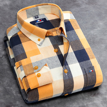 Langmeng 2016 100% Cotton Hot Sale Spring Autumn Dress Shirts Long Sleeve Plaid Flannel Men Casual Shirts Slim Fit chemise homme