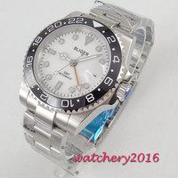 43mm Bliger Branco Dial Ponteiros Luminosos do relógio de Vidro de Safira GMT Cerâmica Rotativa Bisel Data Caixa de Aço Movimento Automático dos homens relógio Relógios mecânicos     -