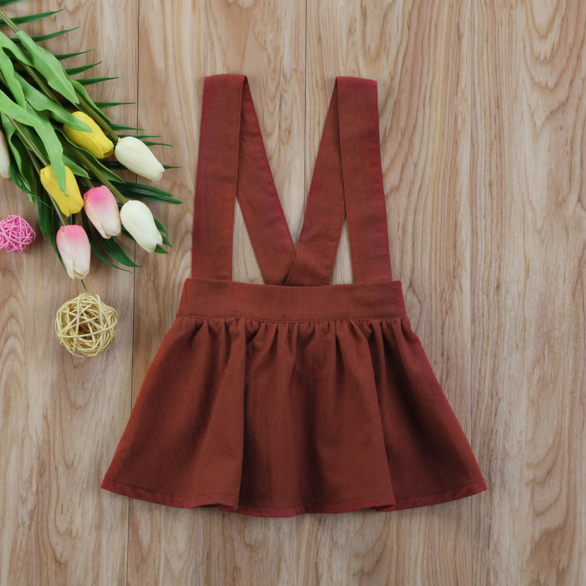 2018 Spring Baby Girls Brown Color Overall Skirt Fashion Baby Pirncess Tutu Skirts Children Clothing 6M-3Y