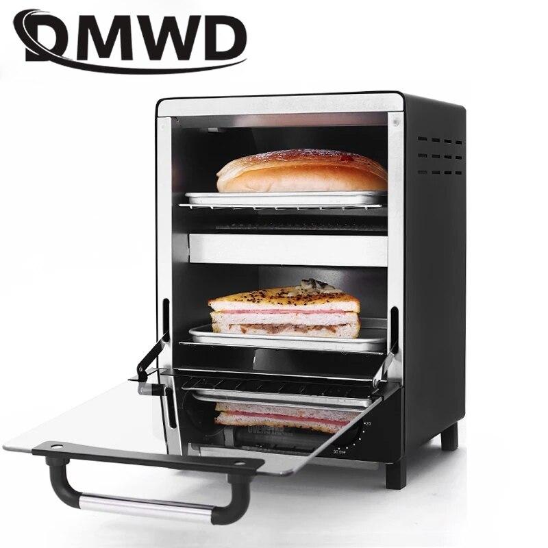 DMWD Mini four à Convection électrique boulangerie verticale grille-pain minuterie 12L Biscuits gâteau Pizza pain petit déjeuner Machine à pâtisserie