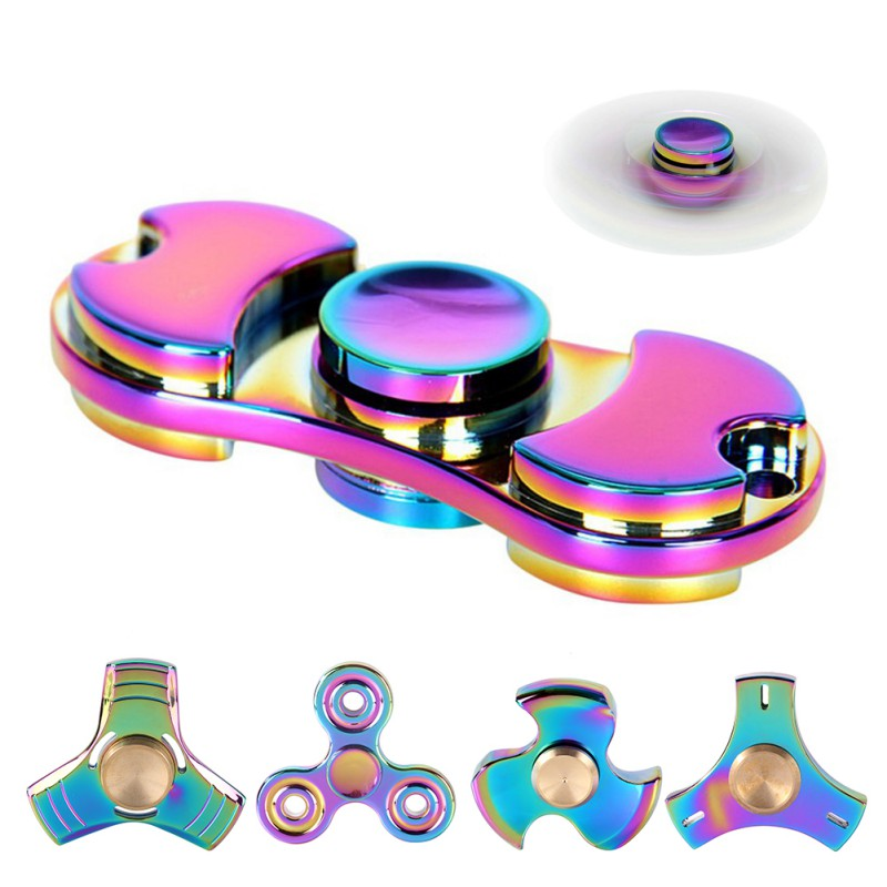 Spinner ADHD EDC Stress Spinner Alloy Rainbow Fidget Finger Toy Triangle Anxiety Attention Toy High Speed for Killing Time Ultra