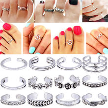 12Pcs/Set Mix Toe Ring Set Fashion Retro Carved Flower Adjustable Toe Foot Rings For Women Open Finger Ring Jewelry Z574(China)