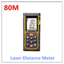 Бесплатная доставка новая модель цифровой ручной лазерный измеритель расстояния, Макс измерения расстояние : 80 м ( желтый )