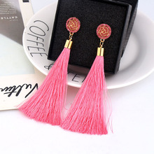 Fashion Pop Tide Girl Exaggerated Long Temperament Rose Flowers Tassel Earrings Ear Nail Ornaments