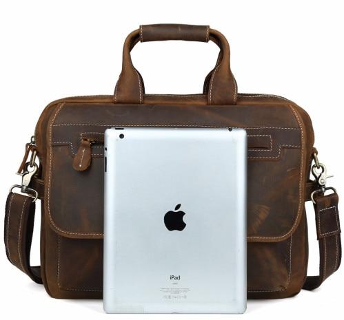 Herrenmode Designer handtaschen Hoher Qualität Leder Braun Leder Aktentasche Portfolio Männer 15,6 laptop Büro Messenger Taschen - 3
