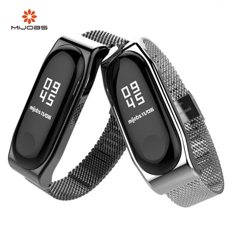 Mijobs Mi Band 3 Strap Bracelet wrist strap Miband 3 Smart Band Strap MiBand 3 Wristband black Magnet Metal for xiaomi Mi Band 3