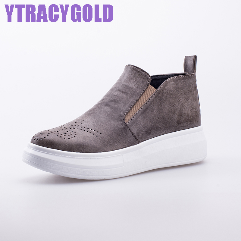 YTracyGold Autumn Slip On Casual Shoes Women Leather Loafers Shoes For Women British Vintage Flats Women Platform Shoes Ladies