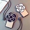 Caso + Correia, mulher chique feminino capa de silicone para o iphone 6 s 6/mais bonito kumamon flor tampa transparente caso saco à moda claro