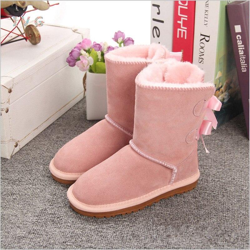 Mädchen Australien Stil Kinder Schnee Stiefel Nette Bogen Zurück Wasserdichte Slip-auf Kinder Winter Kuh Leder Stiefel Marke Ivg EU21-34