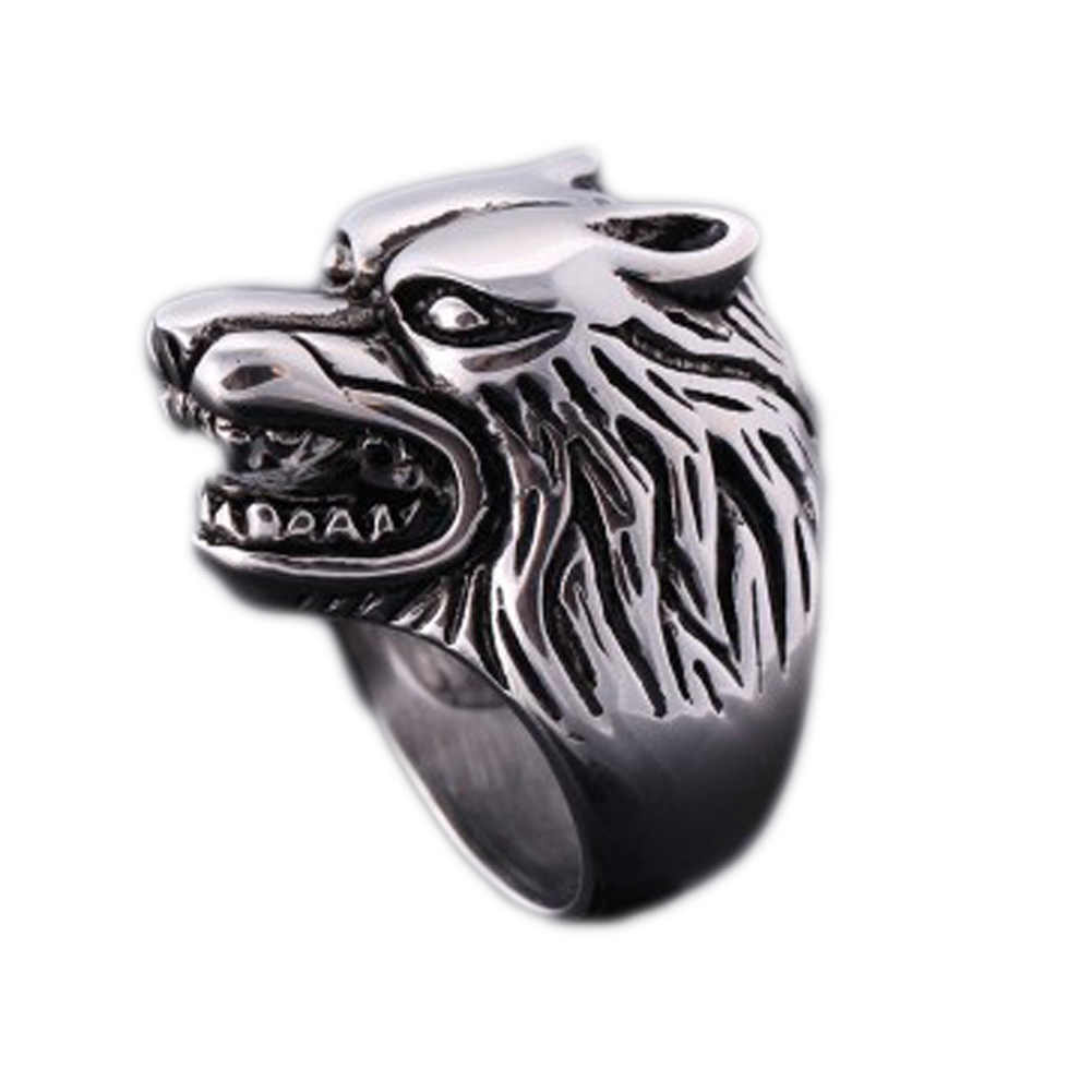 2019 New Arrival  Hot Sale Real Wolf Head  Rings Sterling Fashion Skeleton Hands  Retro RingHigh Quality