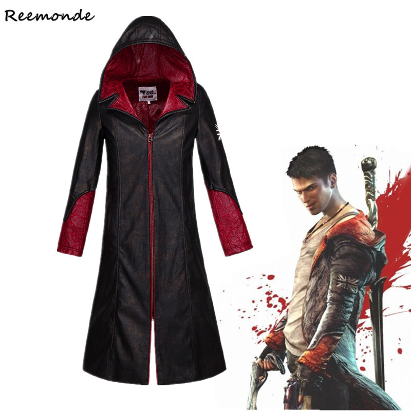 Games Devil May Cry 5 Dante Cosplay Costumes PU Leather Winter Trench Jackets Hoodie Coat For Men Women Windbreaker Clothing