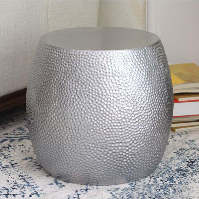 Silver Color Fibergl Coffee Table Living Room Art Round Drum End Modern Leisure Side