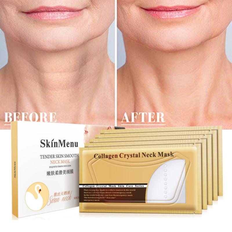 5Pcs Neck Masks Crystal Collagen Whitening Anti-Aging Nourishing Neck Whitening Moisturizing Skin Care Neck Patches