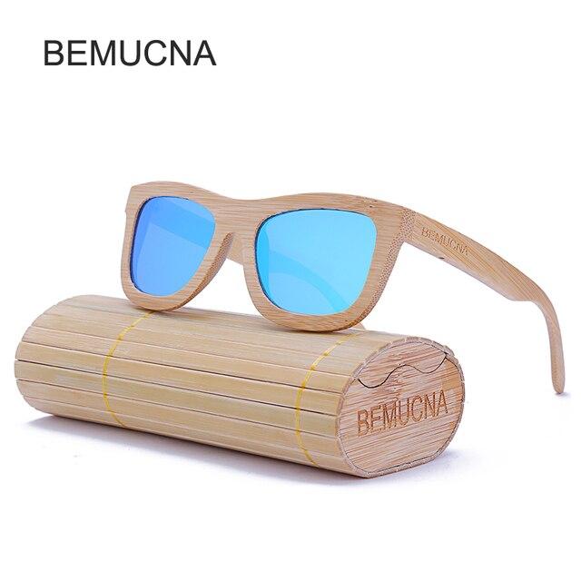 BEMUCNA 2017  gafas de sol hombre polarizadas marca Nueva moda 100% hecho a mano diseño lindo de madera de bambú gafas de sol hombres y mujeres gafas de sol gafas de sol mujer frescas