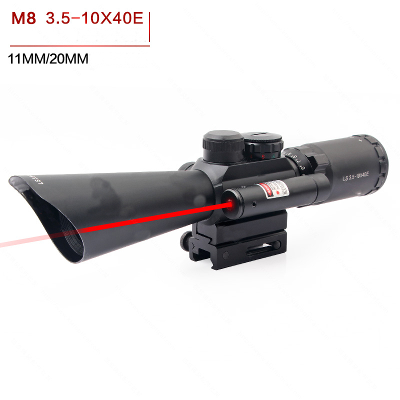 Hunting Optics Riflescope 3.5-10x40mm Red Dot Sight Fiber Optic Rifle Scope Viseur Point Rouge Chasse For 20mm Or11mm Rail Mount
