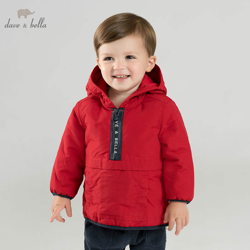 DB8689 dave bella winter baby boys hooded coat infant padding jacket children high quality coat kids padding outerwear