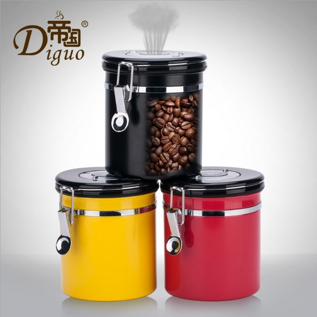 1.2L Coffee Tea Sugar Storage Tanks Sealed Cans 18/8 Coffee Canister  Airtight Stainless