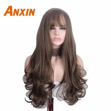 Anxin Long Curly Synthetic Wigs with Bangs Brown Womans Hair Heat Resistant High Temperature Kinky Cosplay Wig for Women fashion long curly dark gray wig with bangs for women high temperature 17 inch