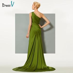 Image 3 - Dressv Green Elegante Avondjurk Schede Hof Trein Een Schouder Split Front Wedding Party Formele Jurk Kolom Avondjurken