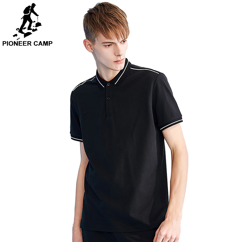 Pioneer camp short sleeve men   polo   shirt brand clothing white stripe letter print men quality   polo   male ADP801159