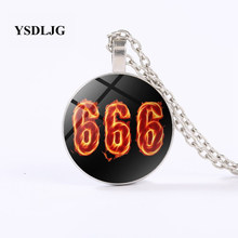 YSDLJG Esoteric Necklace - Satanic Red 666 Burning - Satan Lucifer Satanism Occult Gift Stainless Steel Jewelry(China)