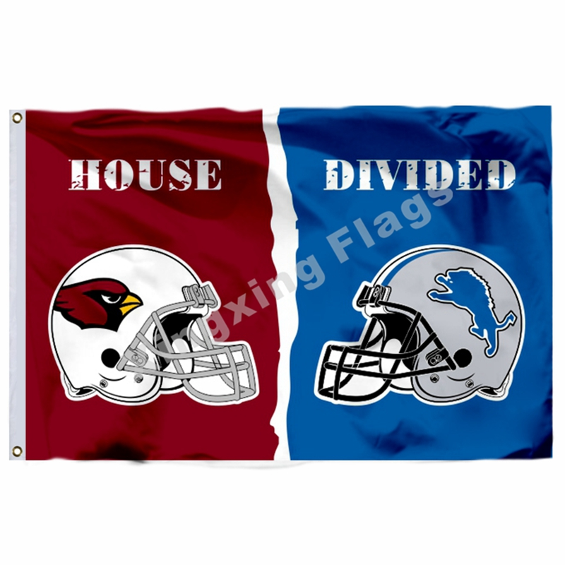 Arizona Cardinals Detroit Lions Helmets House Divided Flag 3ft X 5ft Polyester NFL Banner Size No.4 144*96cm Custom Flag