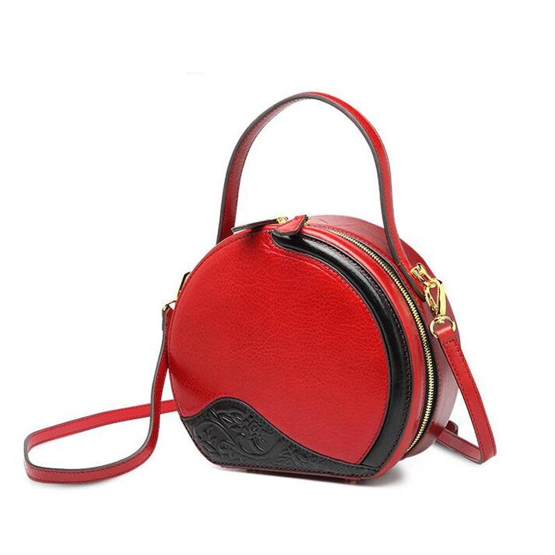 Женские сумки из натуральной кожи, новинка 2019, небольшая круглая сумка с контрастным цветным принтом, модная сумка через плечо, сумка через ... - 6