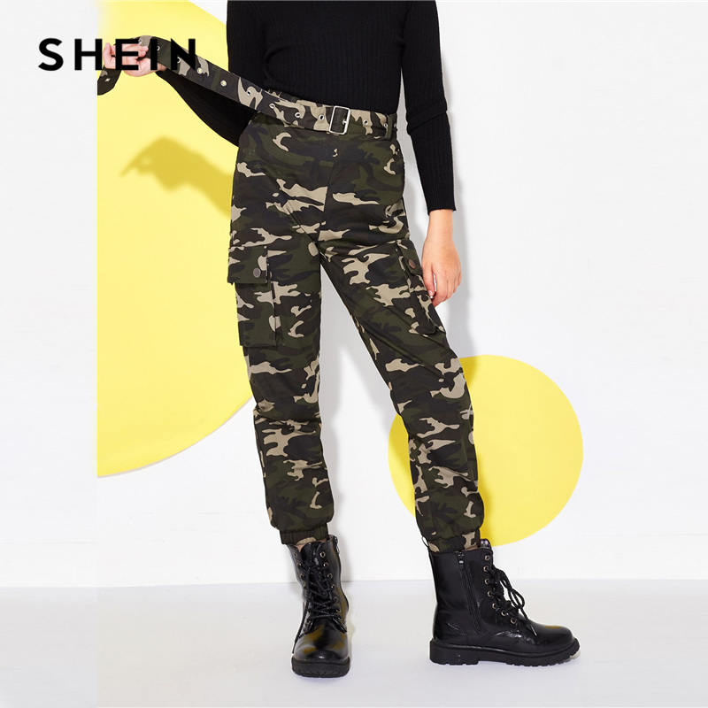 SHEIN Kiddie Flap Pocket Belted Button Camo Print Casual Girls Pants 2019 Spring Streetwear Trousers Girl Kids Clothes o ring belted flower print dress