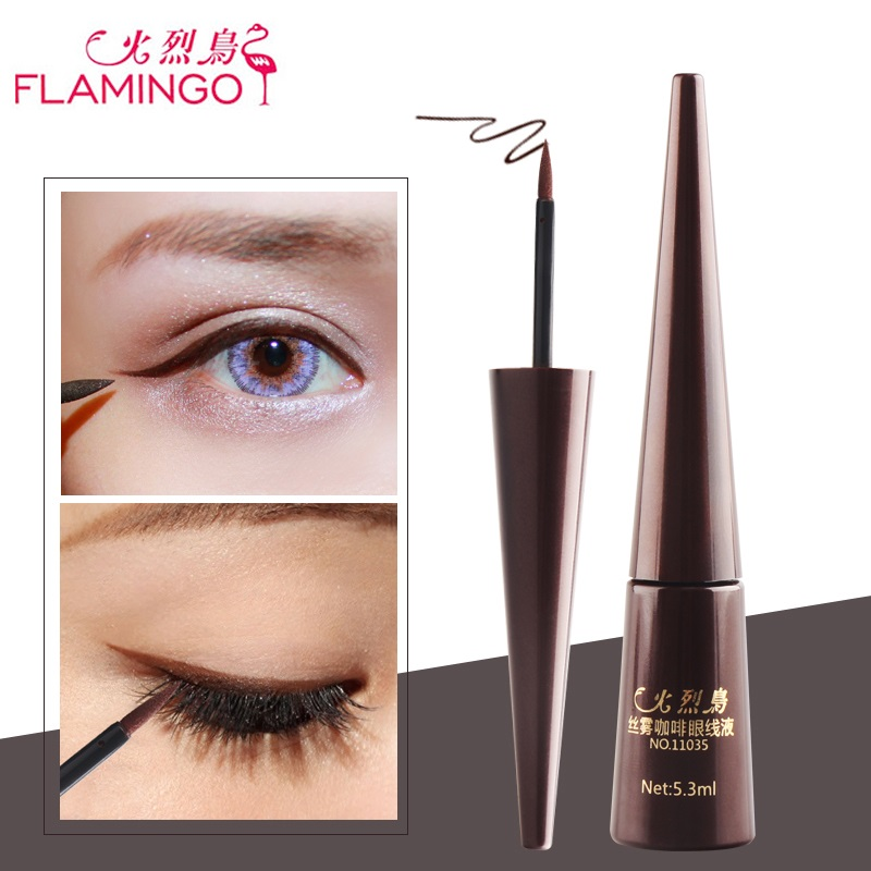 FLAMINGO Eye Makeup 5.3ml Brown Matte Eyeliner Anti-blooming Long-lasting Easy to Wear Natural Safe Liquid Eyeliner free shipping 3 pp eyeliner liquid empty pipe pointed thin liquid eyeliner colour makeup tools pink black