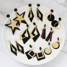 JUJIA 8 designs New Korean Girl Earrings Black Geometry Tassel Drop Earrings for Women Fashion Cute Jewelry Accessories 2019