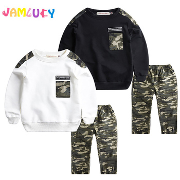 Kids Boys Clothes Set Long Sleeve Spring T Shirt Top+ Camo Camouflage Pants 2Pcs Outfits Sports Set Children Boy Clothes 5-9T spring outfits for kids