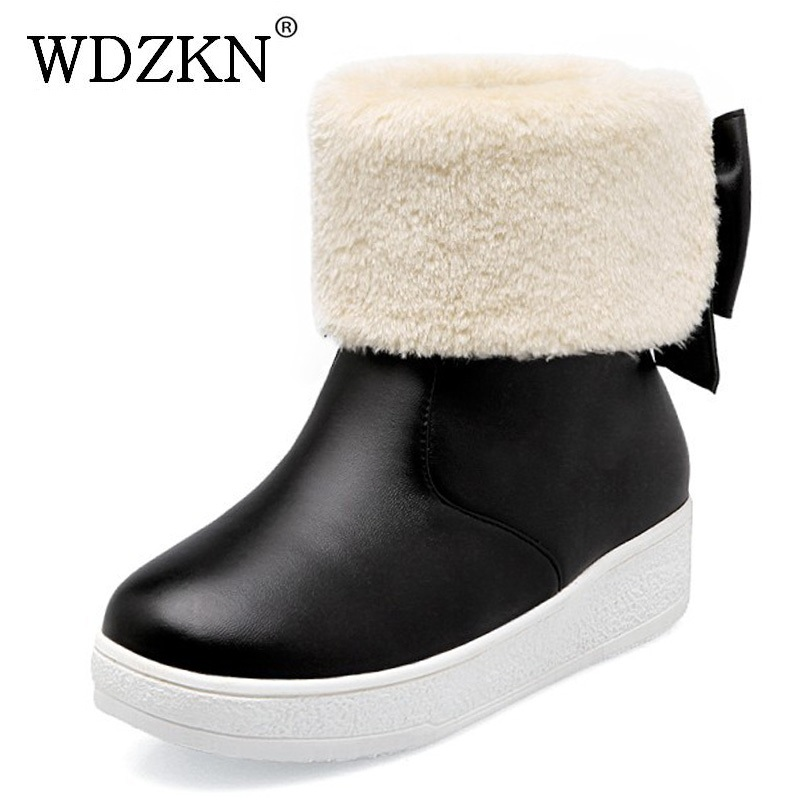 WDZKN 2017 Big Size 34-43 Women Snow Boots Sweet Bow Flat Platform Ankle Boots Women Winter Warm Boots Slip On Casual Shoes doratasia big size 34 43 women half knee high boots vintage flat heels warm winter fur shoes round toe platform snow boots