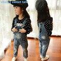 Бесплатная доставка, джинсы Для Девочек, модные Девушки Джинсовые Комбинезоны Высокое Качество Девушки Габаритные Джинсы, детские Девушки Джинсы