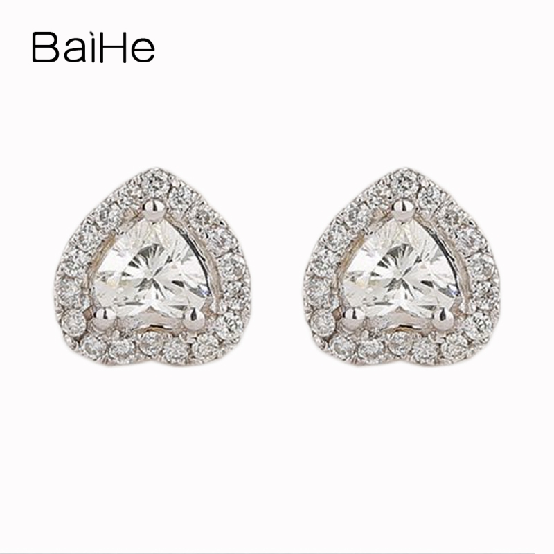 BAIHE Solid 18k White Gold(AU750) 0.37CT VS/H Heart Cut 100% Natural Diamonds Engagement Women Trendy Fine Jewelry Stud Earrings baihe solid 18k yellow gold au750 engagement