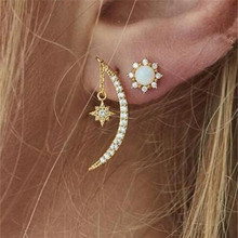 Fashion Gold Color Star Moon Drop Earrings Set Opal Crystal Earrings for Women Female Geometric Oorbellen Jewelry Accessories moonrocy drop shipping silver color waterdrop fashion crystal necklace and earrings pink opal jewelry set for women girl