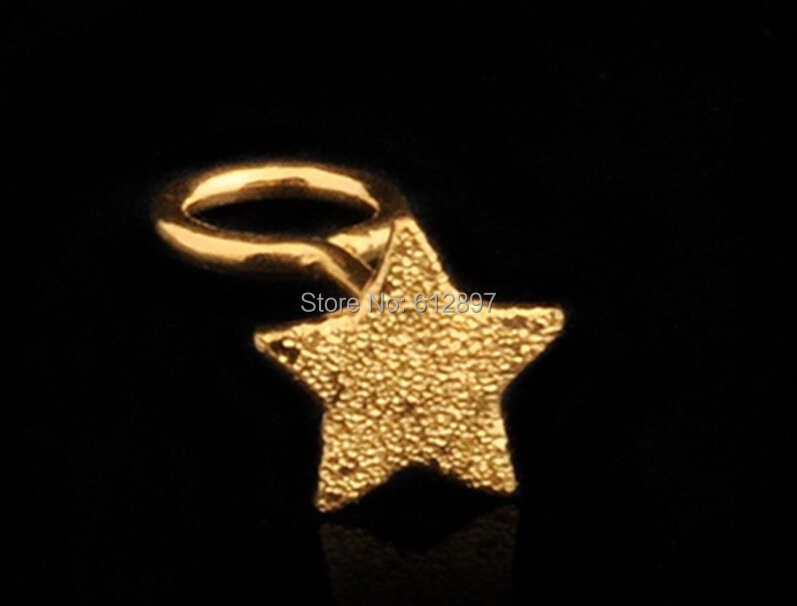купить Pure 24K Yellow Gold Stud Earrings/ Little Five Star Stud Earrings / 0.68g по цене 3034.85 рублей