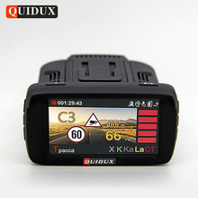 QUIDUX Russian Car DVR Camera GPS Radar Detector 3 in 1 Full HD 1080P Video Recorder LDWS Anti Speedcam Fixed and Flow Velocity