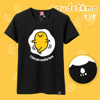 Cute Women Anime T Shirts Kawii Female Girls Black YELLOW Eggs Printing Top Couple Short Sleeve