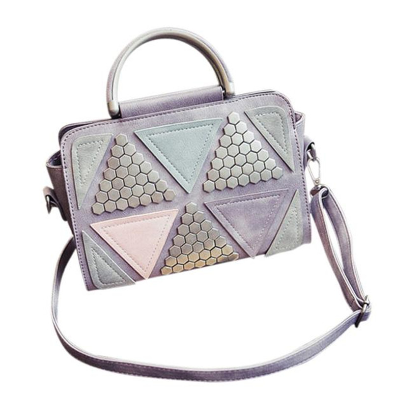 Women's messenger luxury handbags women bags designer Shoulder Bag bag bolsas femininas Triangle Fashion Rivet  Large Tote Purse handbags women trapeze bolsas femininas sac lovely monkey pendant star sequins embroidery pearls bags pink black shoulder bag