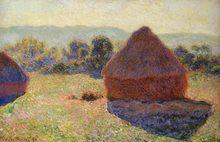 100% pintura al óleo de paisaje hecha a mano reproducción en lienzo de lino, grainstacks-at-the-end-of-summer-morning-Efecto por claude mone