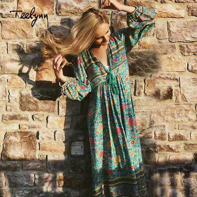 TEELYNN Green floral print boho dress 2018 autumn rayon V-neck long sleeve tassel women dresses bohemia loose Hippie dresses