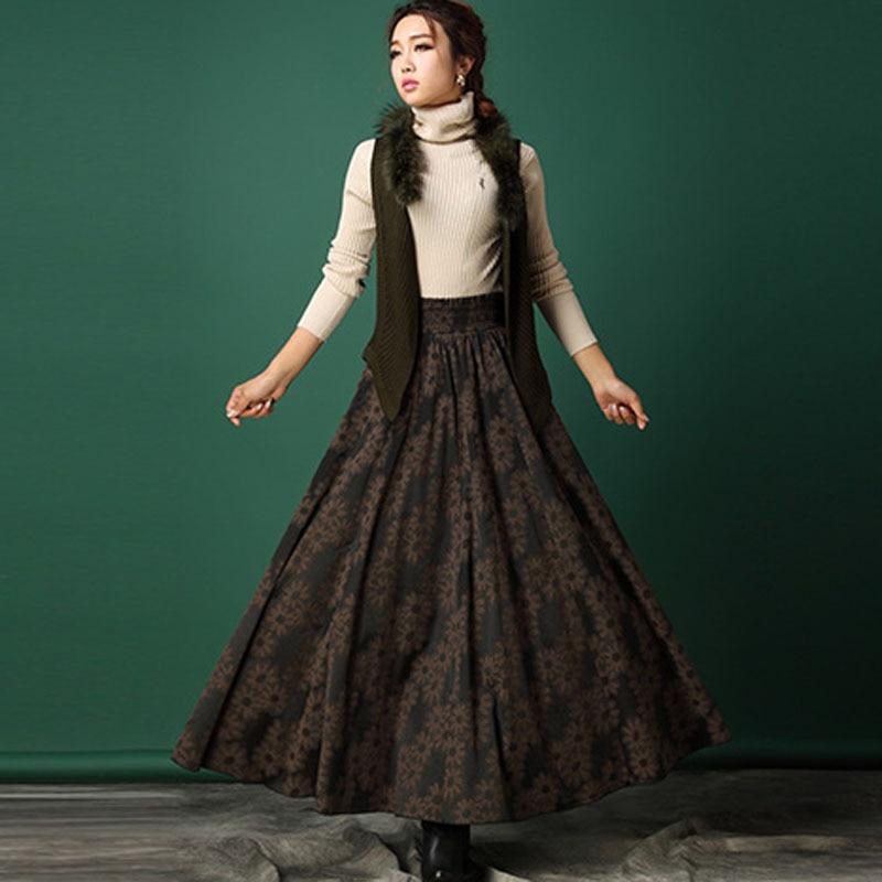Zakázková výroba 2019 podzimní a zimní sukně ženy vintage skládaná vlna sukně květinový tisk štíhlá elegantní dlouhá sukně