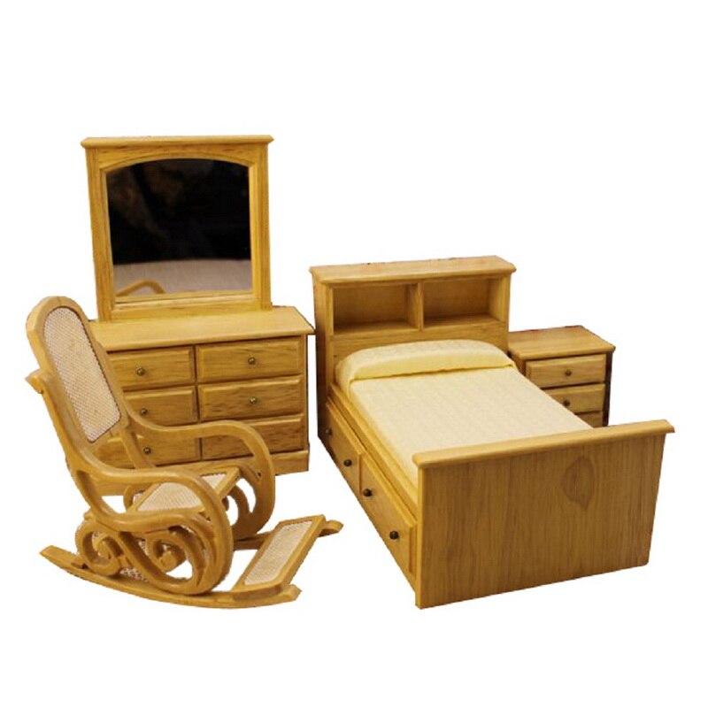 4 Pcs/Set Dollhouse Miniature Oak Bedroom Furniture Bed & Drawer Stool  Mirror 1