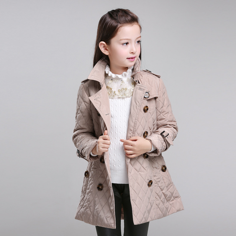 New arrival 2018 spring & autumn coat clasic girls long cotton-padded clothes free shipping for 6-14 years top quality free shipping 2015 new arrival national trend flower vintage medium long clip long sleeve coat loose cotton padded trench